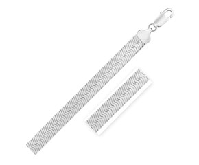 Sterling Silver Rhodium Plated Herringbone Chain (9.5 mm)