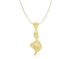 Diamond Cut and Mesh Spiral Pendant in 14k Yellow Gold