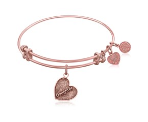 Expandable Pink Tone Brass Bangle with Daughter Special Love Symbol