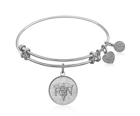Expandable White Tone Brass Bangle with Registered Nurse Care Compassion Symbol