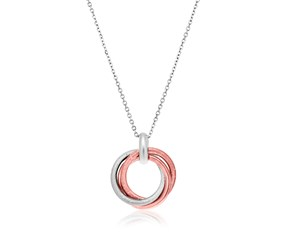 Entwined Two-Tone Diamond Dust Open Circle Pendant in Sterling Silver
