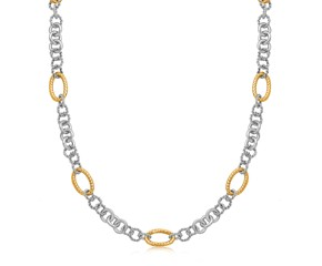 Multi Design Chain Necklace with Rhodium Plating in 18k Yellow Gold and Sterling Silver