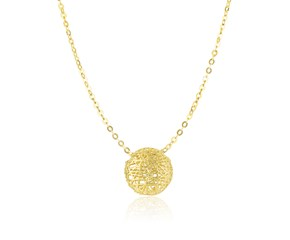 Round Puff Necklace with Mesh Design in 14k Yellow Gold