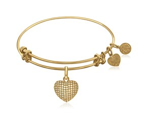 Expandable Yellow Tone Brass Bangle with Heart with Cubic Zirconia