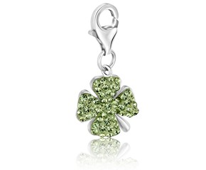 Clover Leaf Green Tone Crystal Embellished Charm in Sterling Silver