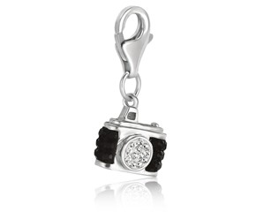 Camera Multi Tone Crystal Encrusted Charm in Sterling Silver