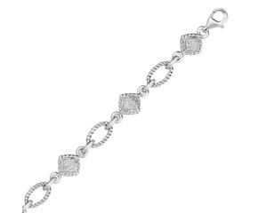 Cable Oval and Square Diamond Accented Link Bracelet in Sterling Silver (1/4 cttw)
