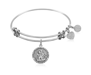 Expandable White Tone Brass Bangle with St. Christopher Protection Symbol