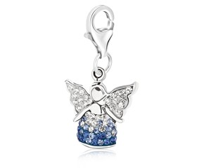 Angel Multi Tone Crystal Embellished Charm in Sterling Silver