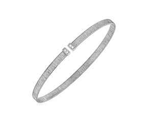 14k White Gold Narrow Silk Textured Cuff Bangle with Diamonds