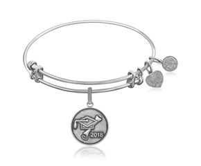 Expandable White Tone Brass Bangle with Class Of 2018 Graduation Cap Symbol