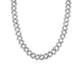 Textured Embellished Link Necklace in Sterling Silver
