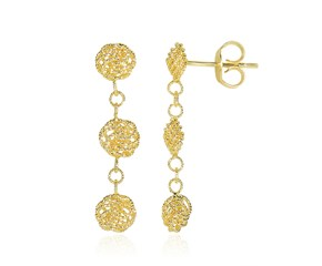Textured Knot Dangling Earrings in 14k Yellow Gold