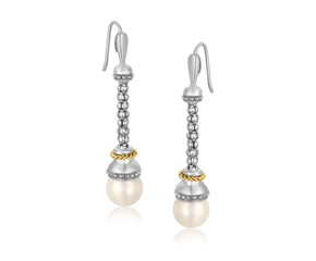 Pearl Accented Dangling Popcorn Earrings in 18k Yellow Gold and Sterling Silver