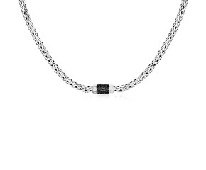 Black Sapphire Accented Woven Chain Necklace in Sterling Silver