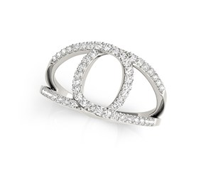 Loop Design Dual Band Ring with Diamonds in 14k White Gold (1/2 cttw)