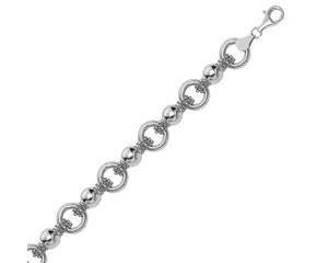 Multi Strand Bead Chain and Ring Motif Bracelet in Rhodium Plated Sterling Silver