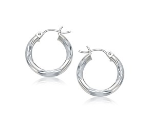 Fancy Diamond Cut Style Hoop Earrings in 14k White Gold (15mm)