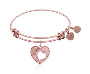 Expandable Pink Tone Brass Bangle with Mother's Special Love Symbol