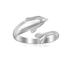 Shiny Dolphin Motif Toe Ring in Rhodium Plated Sterling Silver