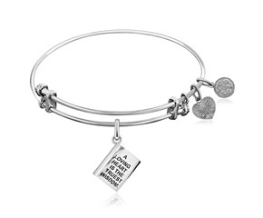 Expandable White Tone Brass Bangle with Loving Heart is the Truest Wisdom Symbol