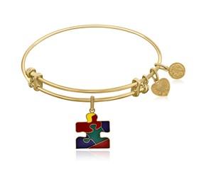 Expandable Yellow Tone Brass Bangle with Autism Awareness Enamel Symbol