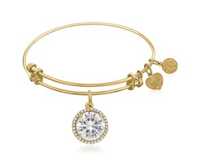 Expandable Yellow Tone Brass Bangle with Cubic Zirconia April Birthstone