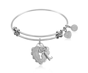 Expandable White Tone Brass Bangle with Key To Opening Life's Doors Symbol