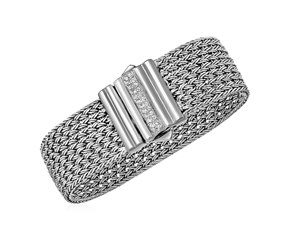 Wide Woven Rope Bracelet with White Sapphire Accented Clasp in Sterling Silver
