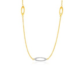 14K Yellow Gold and Diamond Necklace with Oval Stations