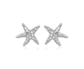 Sterling Silver Petite Starfish Earrings with Cubic Zirconias