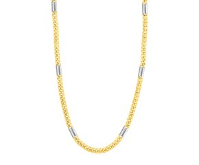 14k Two Tone Gold Mens Twisted Bar Link Necklace