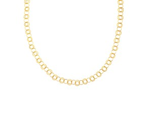 Alternate Polished and Double Textured Round Link Necklace in 14K Yellow Gold