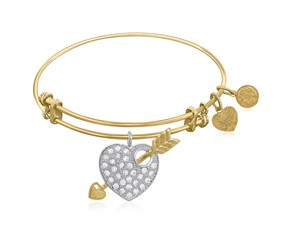Expandable Yellow Tone Brass Bangle with Heart and Arrow with Cubic Zirconia