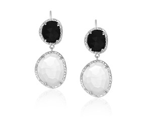 Moonstone,  Black Onyx and Diamond Dangling Earrings in Sterling Silver