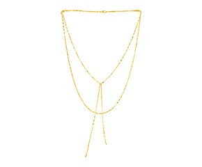 14k Yellow Gold Two Strand Mixed Standard and Lariat Style Necklace