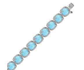 Fancy Square Blue Topaz and White Sapphire Link Bracelet in Sterling Silver