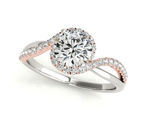 14k White And Rose Gold Bypass Split Band Round Diamond Engagement Ring (1 1/8 cttw)