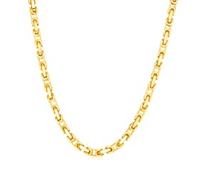 14k Yellow Gold Mens Byzantine Chain Necklace