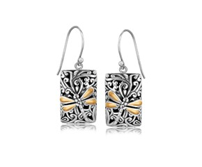 Rectangular Dragonfly Motif Drop Earrings in 18k Yellow Gold and Sterling Silver