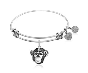Expandable White Tone Brass Bangle with Chimpanzee Symbol