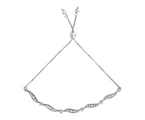 Adjustable Wave Motif Bracelet with Diamonds in Sterling Silver