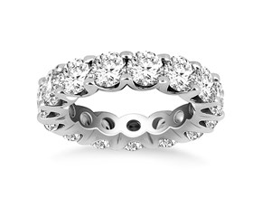 Round Diamond Embellished Eternity Ring in 14k White Gold