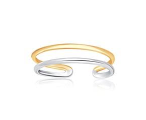 Open Tube Design Toe Ring in 14K Two-Tone Gold