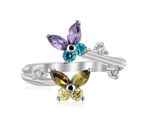Multi-Tone Cubic Zirconia Floral Toe Ring in Rhodium Finished Sterling Silver