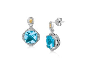 Blue Topaz and Diamond Accented Fleur De Lis Motif Cushion Drop Earrings in 18k Yellow Gold and Sterling Silver (.11 cttw)