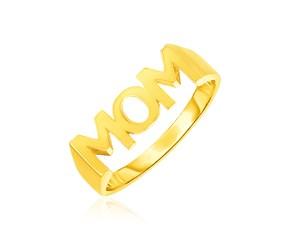 14k Yellow Gold Mom Ring