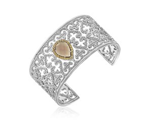 Smokey Quartz and Citrine Accented Byzantine Style Cuff in Sterling Silver