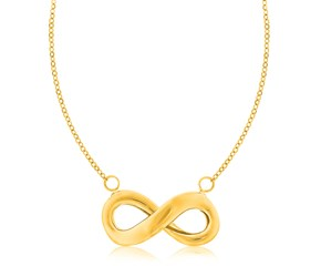 Polished Infinity Charm Chain Necklace in 14K Yellow Gold