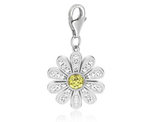 Daisy Charm with Multi Color Crystal Accents in Sterling Silver